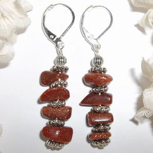 Burnt Orange & Silver Sandstone Earrings NWT 4872